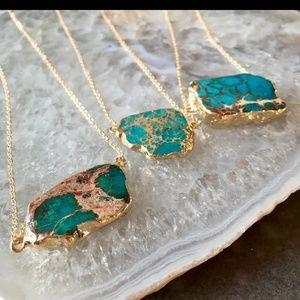 Jewelry - Raw Jasper 18k Gold Boho Necklace